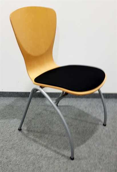Holzschalenstuhl buche, Sitzpolster schwarz