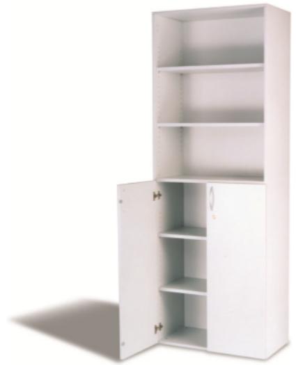 Regal- Kombischrank 6 OH, B 80 cm grau