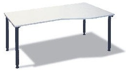 Freiform- Schreibtisch B 180 cm grau, R, HV