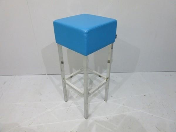 SMV - Barhocker - Bezug Lederoptik blau