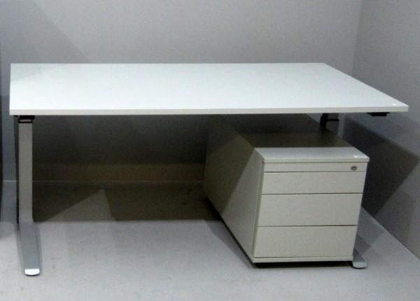 SET 2-teilig- Tisch 160 cm + Container, grau