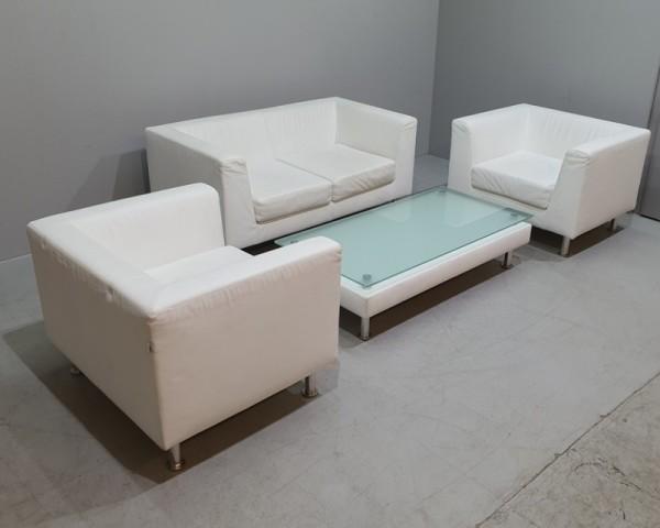 LUXY Sitzgruppe aus Echtleder, weiß