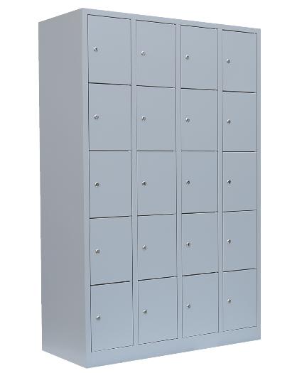 Stahl- Fächer- Schrank 20- Fächer, lichtgrau