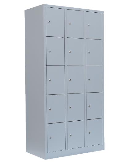 Stahl- Fächer- Schrank 15- Fächer, lichtgrau