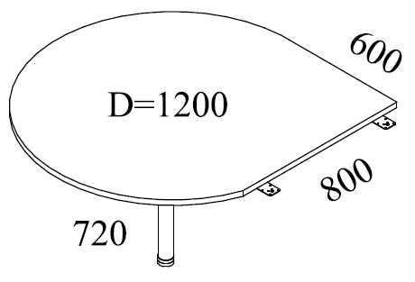 Tropfen- Anbauplatte D 120 cm, grau