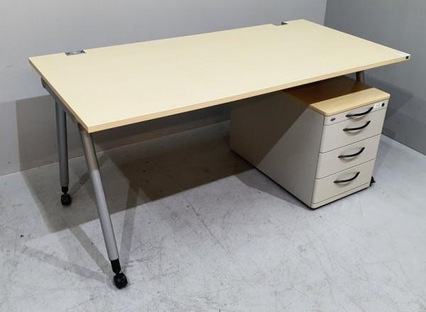 K & N - SET Schreibtisch + Rollcontainer, ahorn