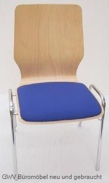 Stapelstuhl Holz mit Sitzpolster