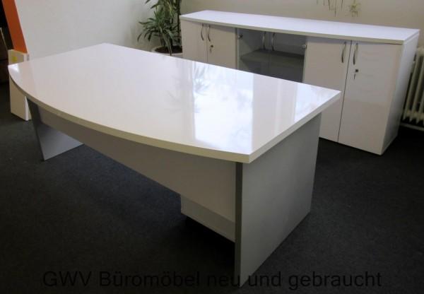 Chefbüro komplett, 3-teilig, hochglanz weiß/ mix