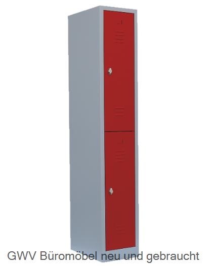 Stahl- Fächer- Schrank 2- Fächer, feuerrot