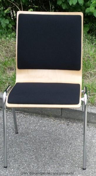 Stapelstuhl Holz m. Sitz- u. Rückenpolster