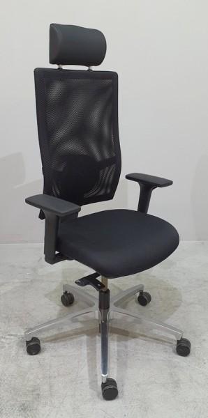 Dauphin magic - Bürodrehstuhl schwarz Netz, Kopfst