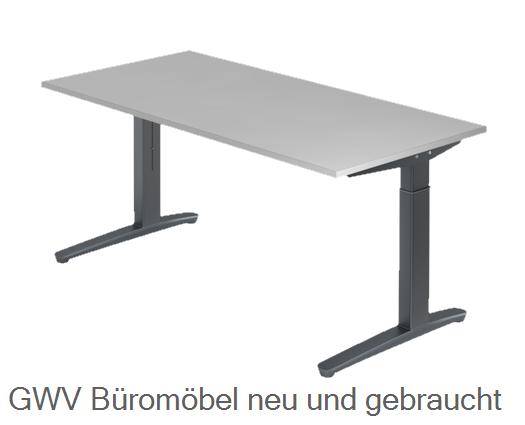 schreibtisch 200 x 100 cm hvb 80 x t 80 x h 65 85 cm tischplatte dekorstabiles fu gestell. Black Bedroom Furniture Sets. Home Design Ideas