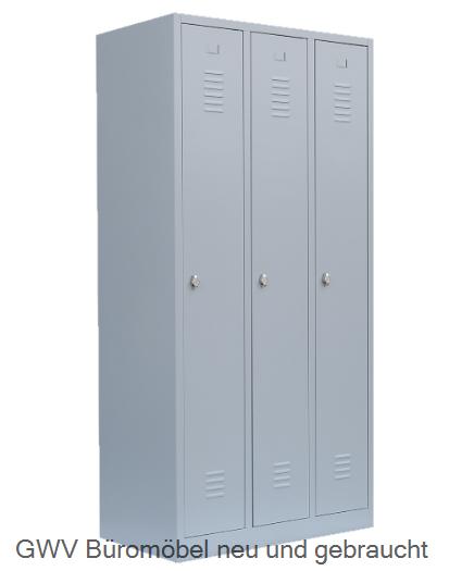spind kleiderschrank stahlschrank 3 abteil lichtgrau grau blau enzianblau rot feuerrot anthrazit. Black Bedroom Furniture Sets. Home Design Ideas