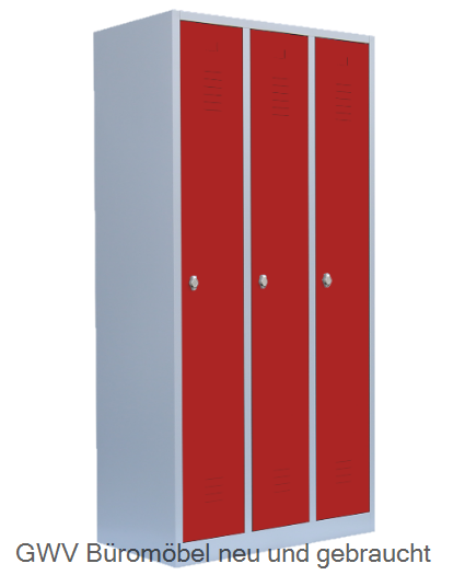 Stahl- Kleider- Schrank 3- Abteile, feuerrot