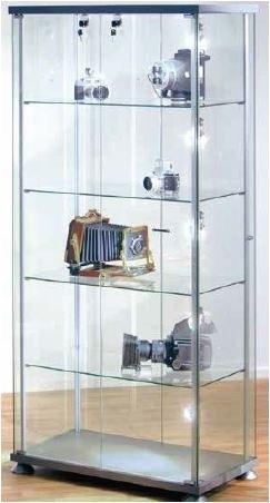 Glas-Regal rechteckig, B 90 cm beleuchtet