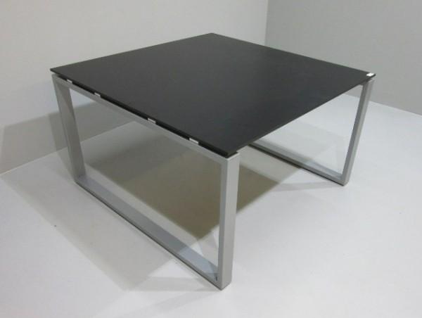 Besprechungstisch 120 x 120 cm, schwarz / alugrau