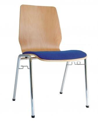 Holzschalenstuhl - Stapelstuhl buche/ Bezug blau