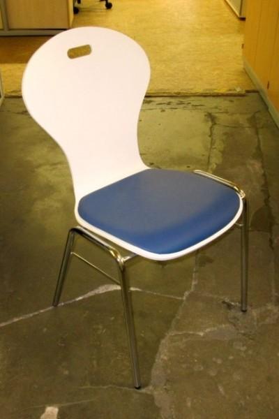 Besucherstuhl weiß/ blau